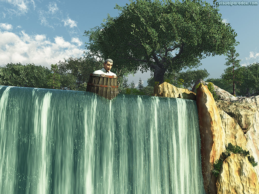 waterfall, man, barrel, precipice, daredevil, stunt, disaster, looming, pessimistic, perilous, edge, 3d, wallpaper