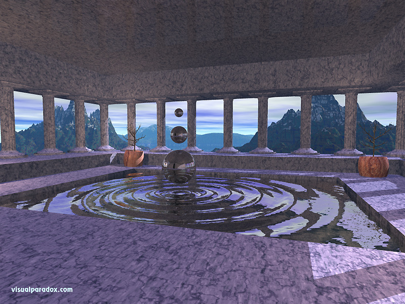 fountain, pillars, temple, water, dancing, spheres, ripples, waves, magical, 3d, wallpaper