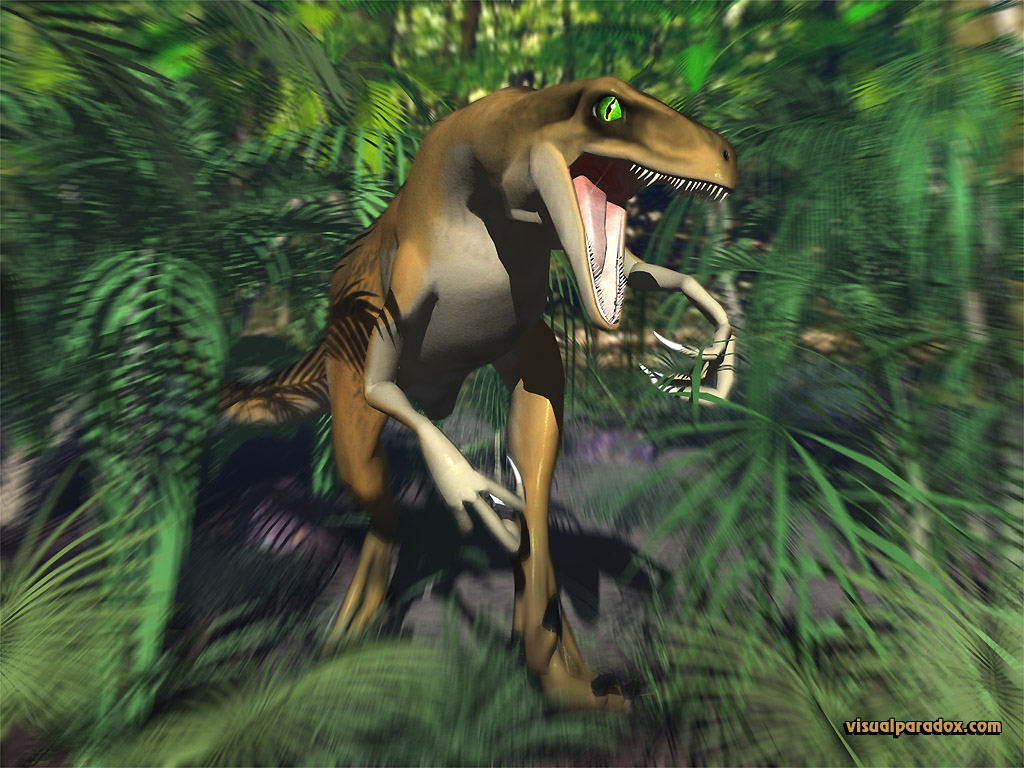 dinosaur, jungle, attack, scary, creature, fast, dinosaurs, raptors, 3d, wallpaper