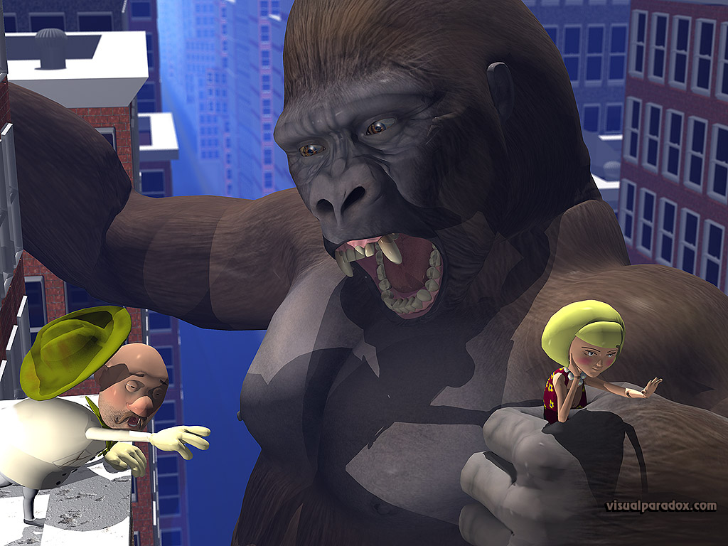 king kong, ape, gorilla, monkey, disaster, monster, movie, city, 3d, wallpaper