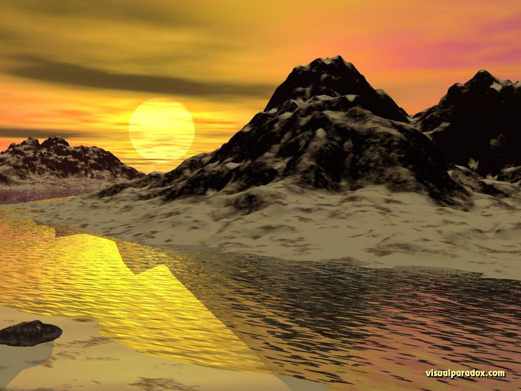 ripples, sunrise, dunes, sand,water, 3d, wallpaper