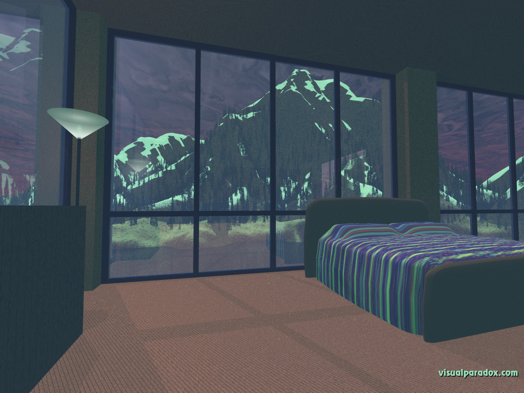 bedroom, mountain, windows, furniture, house, mountains, 3d, wallpaper