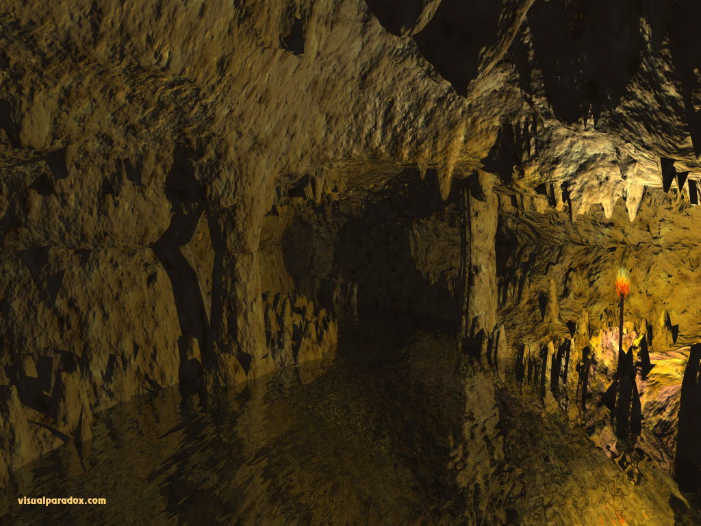 river, torch, underground, hole, tunnel, stalagmites, stalactites, caves, 3d, wallpaper