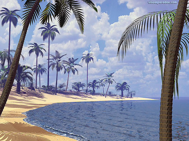 palms, ocean, water, waves, deserted, sand, surf, sun, palm trees, beaches, 3d, wallpaper