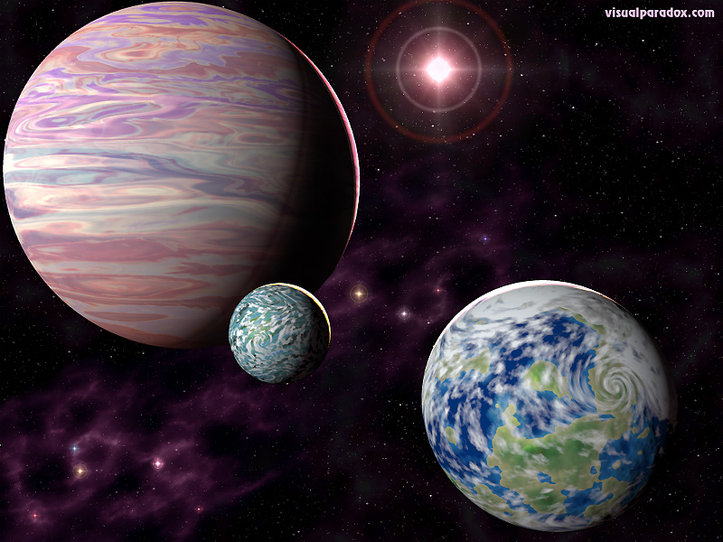 planets, space, orbiting, sun, stars, universe, planet, 3d, wallpaper