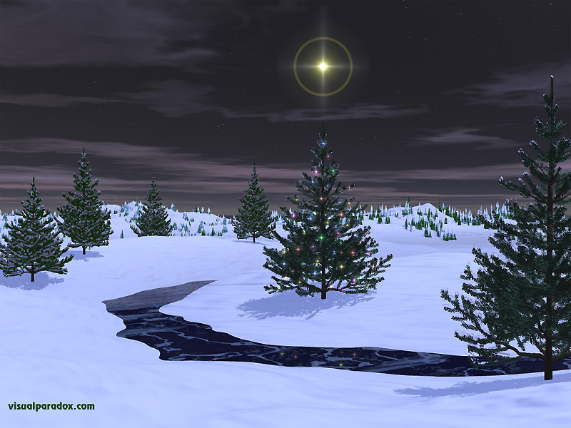 holiday, christmas, x-mas, stars, lights, snow, stream, ice, frozen, pines, trees, tree, 3d, wallpaper