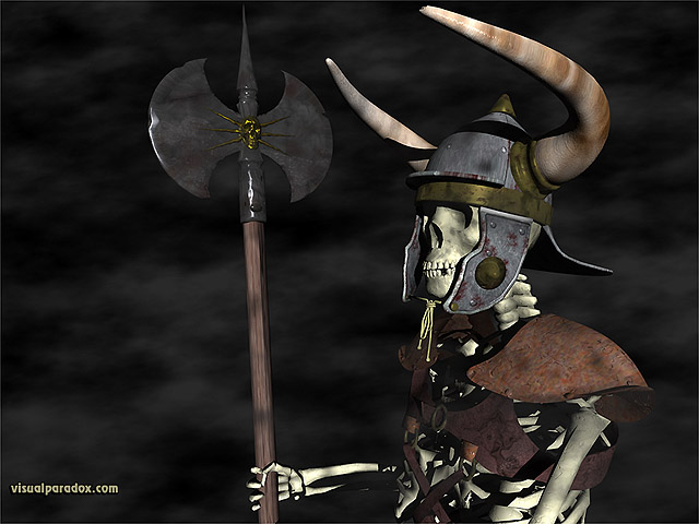 Free 3D Wallpaper 'Skull Warrior' 640x400