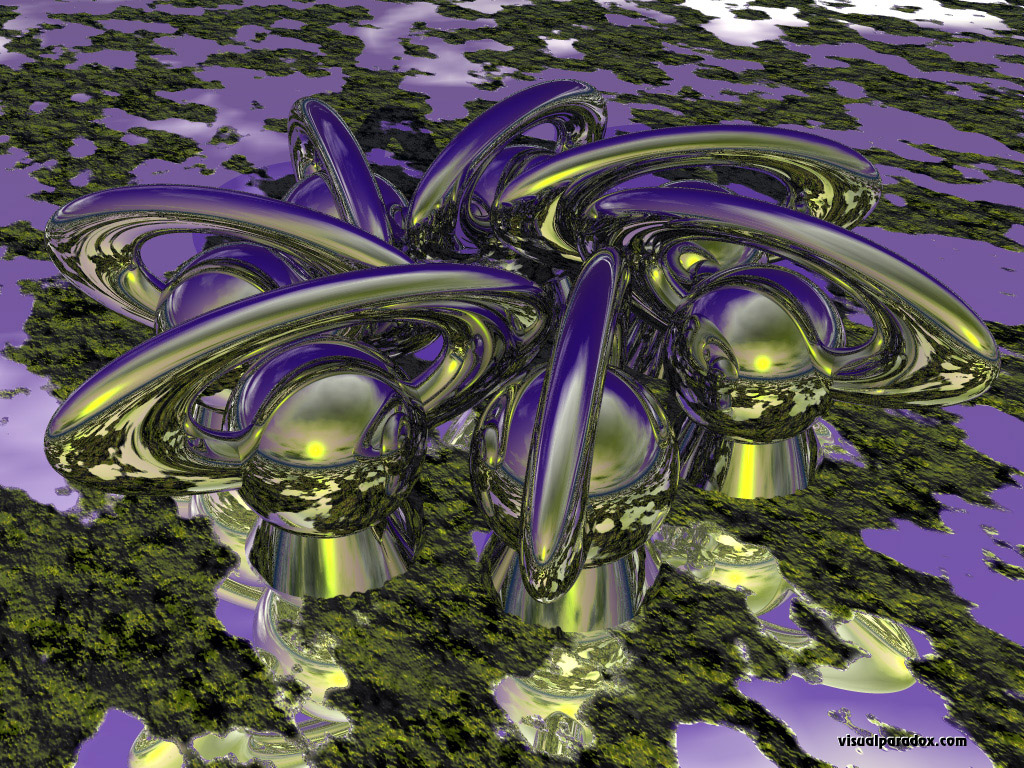 abstract, chrome, spheres, ring, alien, sci-fi, shiney, 3d, wallpaper