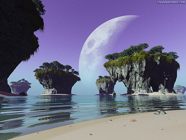 Free 3D Wallpaper 'Strange Beach' 640x400