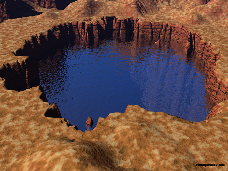 water, hole, lake, pond, rocks, cliff, sandstone, well, 3d, wallpaper