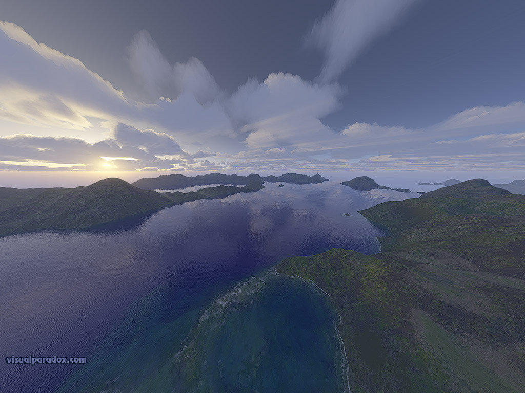 ocean, sunset, lake, sea, blue, mountians, clouds, bay, inlet, rays, vista, 3d, wallpaper
