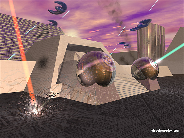 Free 3D Wallpaper 'Under Attack' 640x400