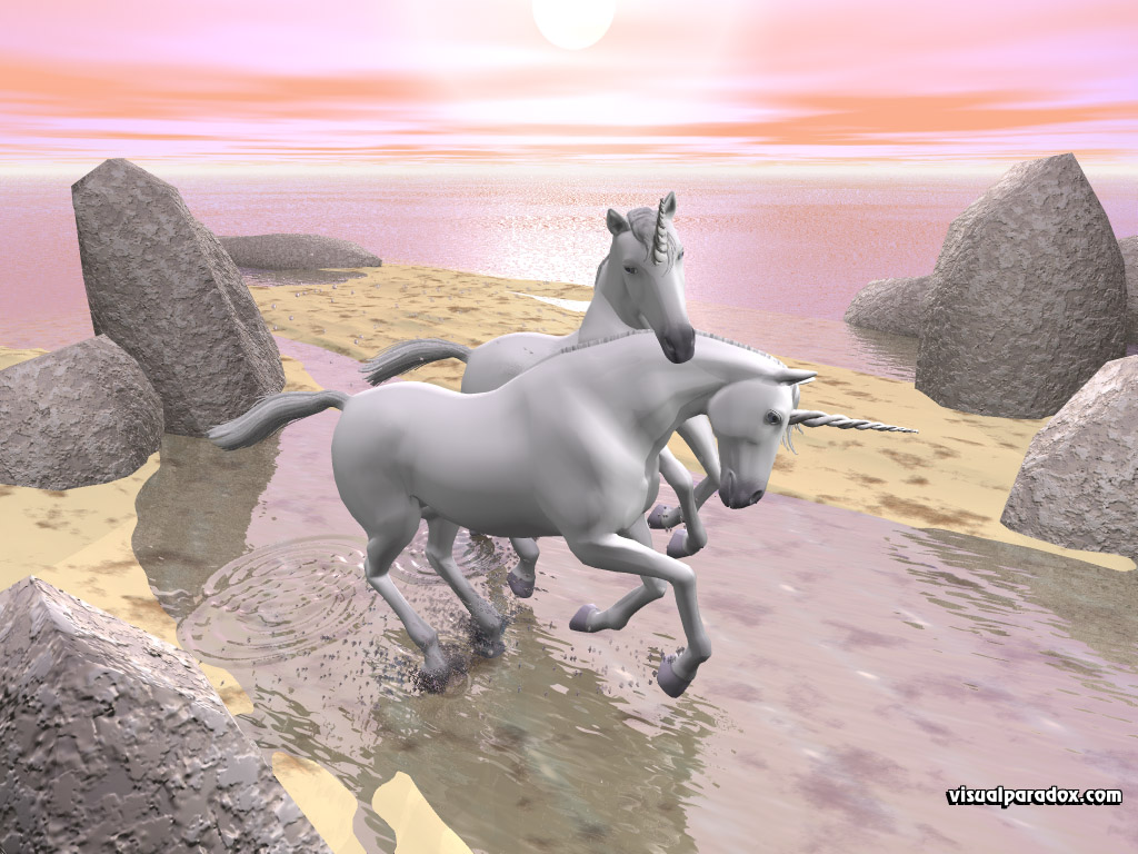 one, horn, two, horse, sun, shore, tidal, gallop, run, frolic, unicorns, 3d, wallpaper