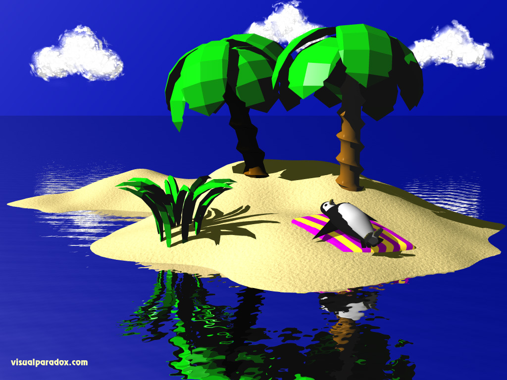 penguin, sunbath, beach, island, tropical, towel, ripples, cartoon, ocean, tux, linux, penguins, 3d, wallpaper