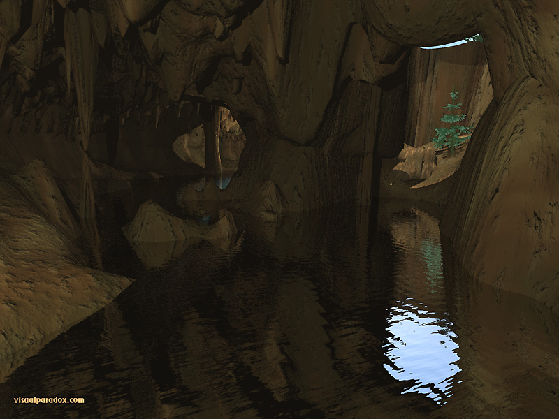 river, tree, underground, hole, tunnel, stalagmites, stalactites, caves, 3d, wallpaper