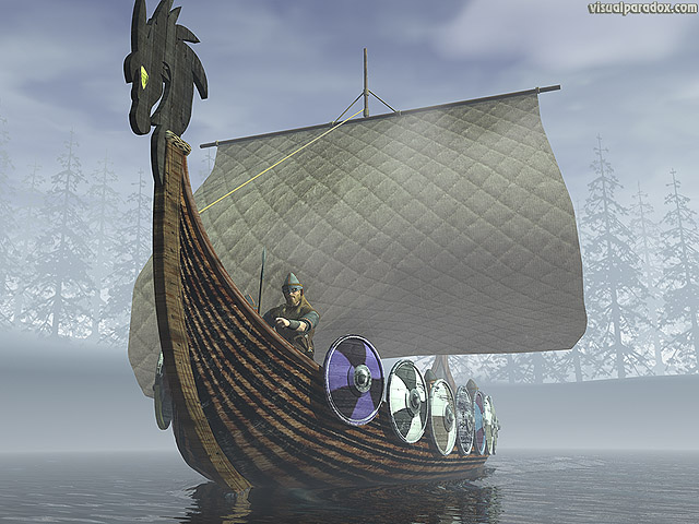 Free 3D Wallpaper 'Viking Ship' 640x400