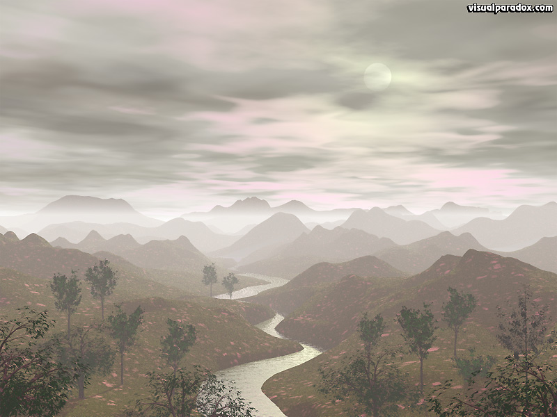 hills, river, mist, fog, hazy, clouds, cloudy, trees, nature, twisted, sun, haze, 3d, wallpaper