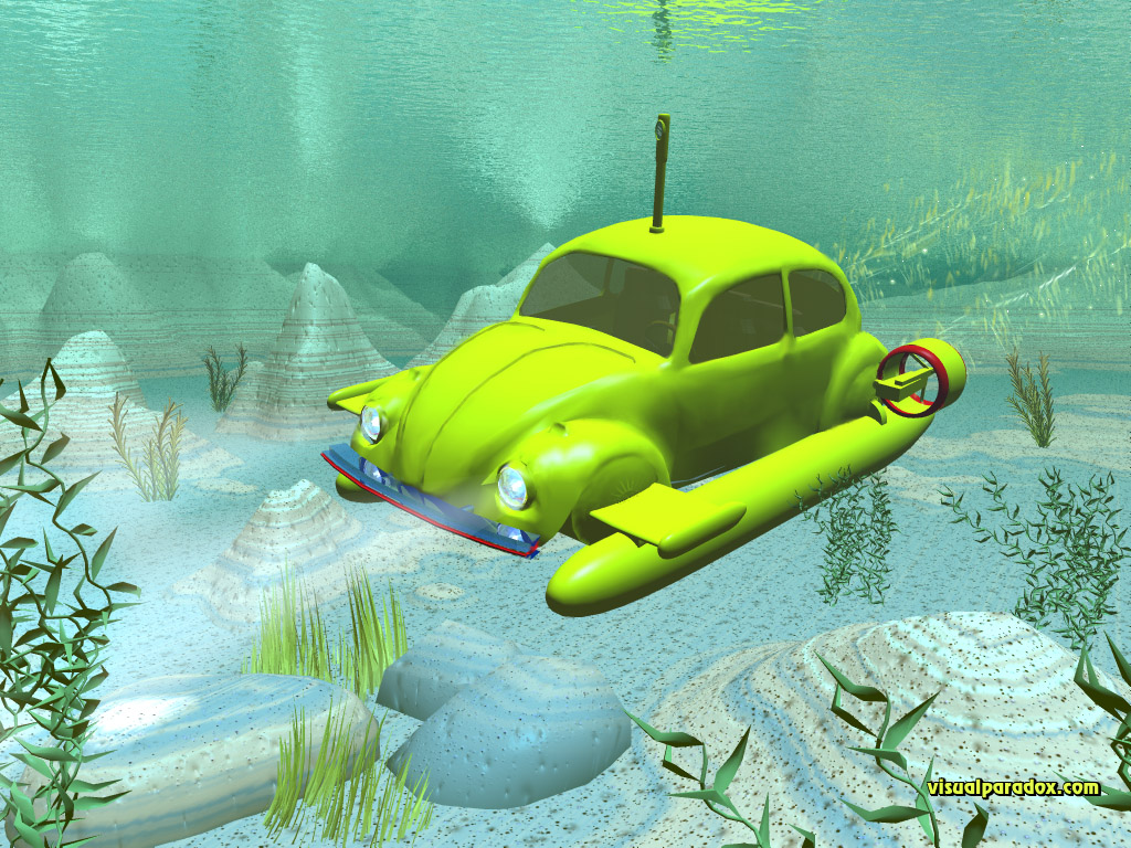 underwater, sub, ocean, sea, submersible, beetle, bug, cars, vw, car, 3d, wallpaper