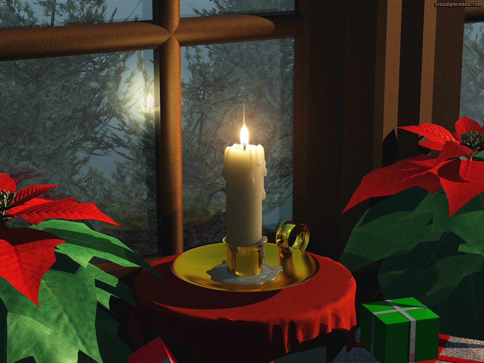 candle, window, fire, holiday, xmas, christmas, flame, poinsettia, candlestick, 3d, wallpaper