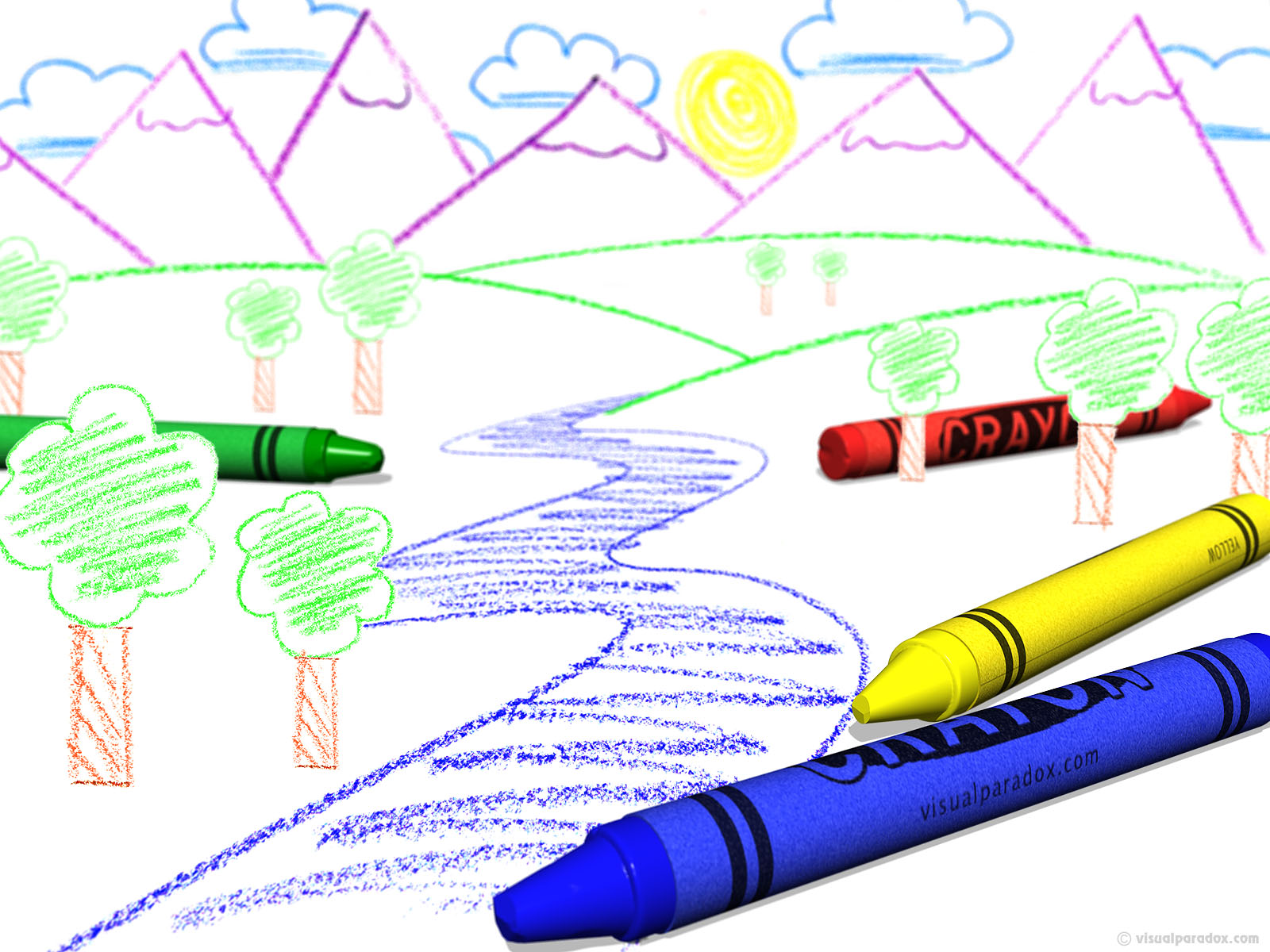 crayon, color, draw, child, blue, yellow, red, green, colors, kid, book, paper, coloring, drawing, 3d, wallpaper