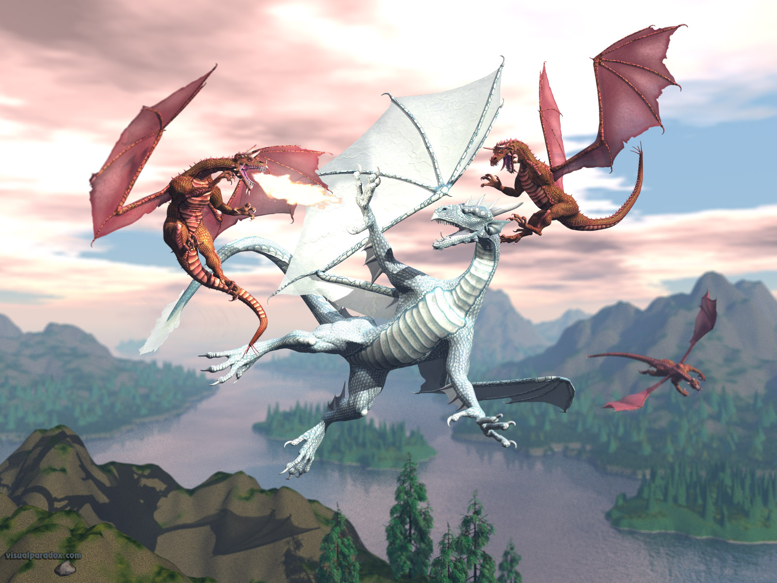 dragon, fight, attack,ambush, breath, blow,draco, frost, flame,dragons, red, blue, 3d, wallpaper