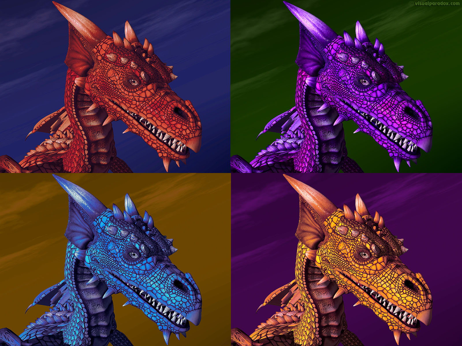 dragon, wyrm, mythical, monster, soar, closeup, detail, violet, purple, blue, red, yellow, fire, ice, warhol, dragons, 3d, wallpaper