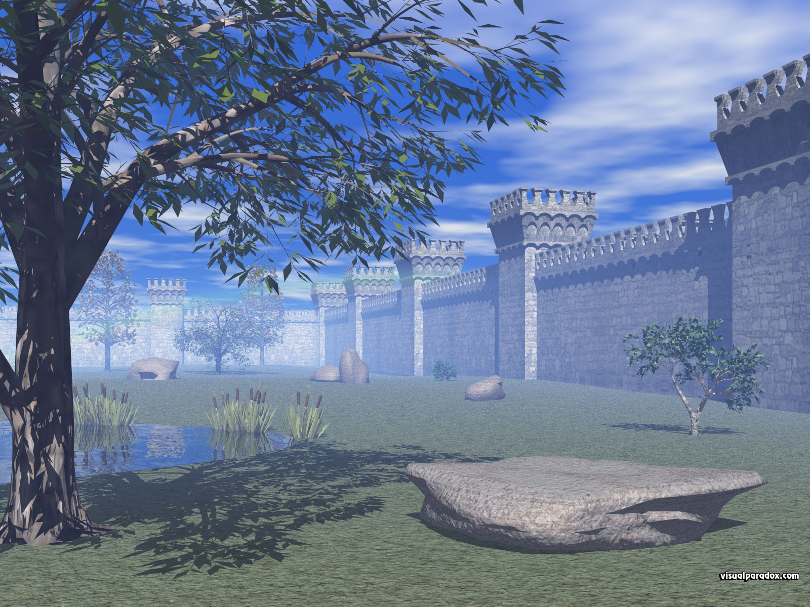 castle, stone, towers, barrier, court, yard, keep, fortifications, medieval, walls, 3d, wallpaper