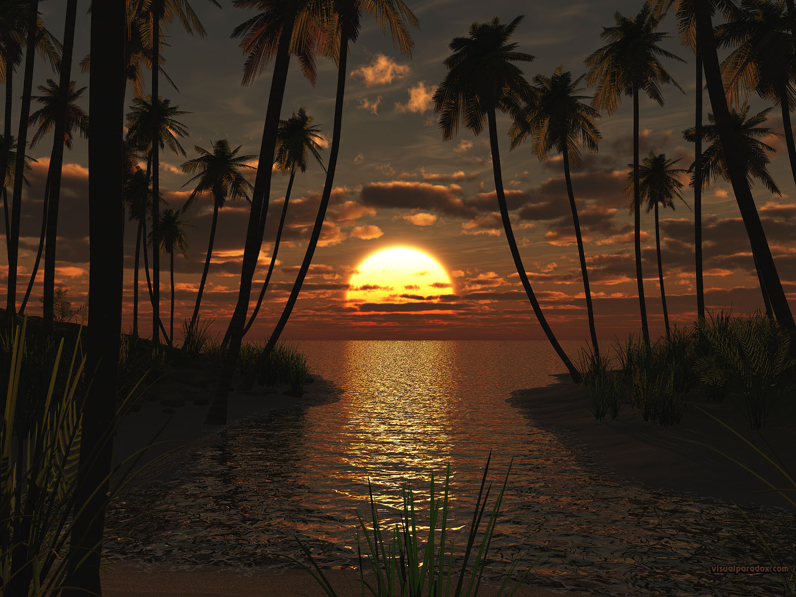 sunset, palms, ocean, water, waves, deserted, sand, surf, sun, palm trees, cove, inlet, beaches, 3d, wallpaper