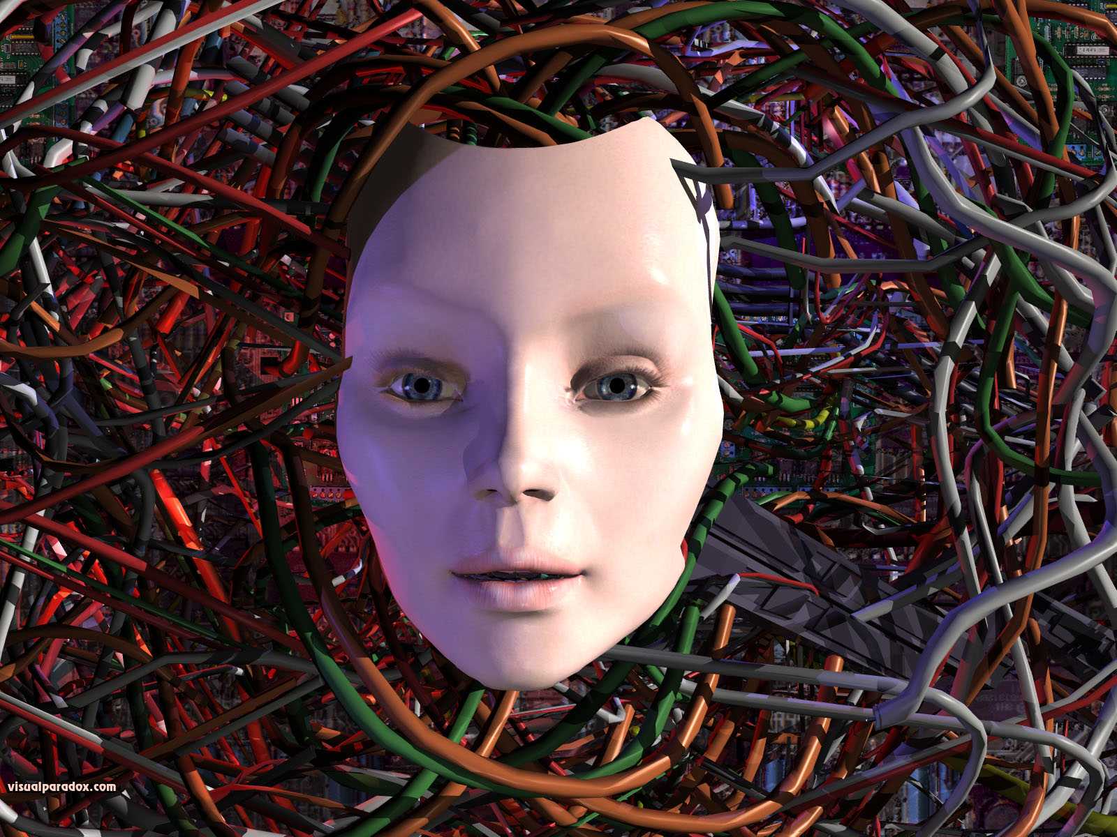 robot, computer, wires, wired, electric, female, girl, woman, AI, artificial, mechanical, electrical, 3d, wallpaper