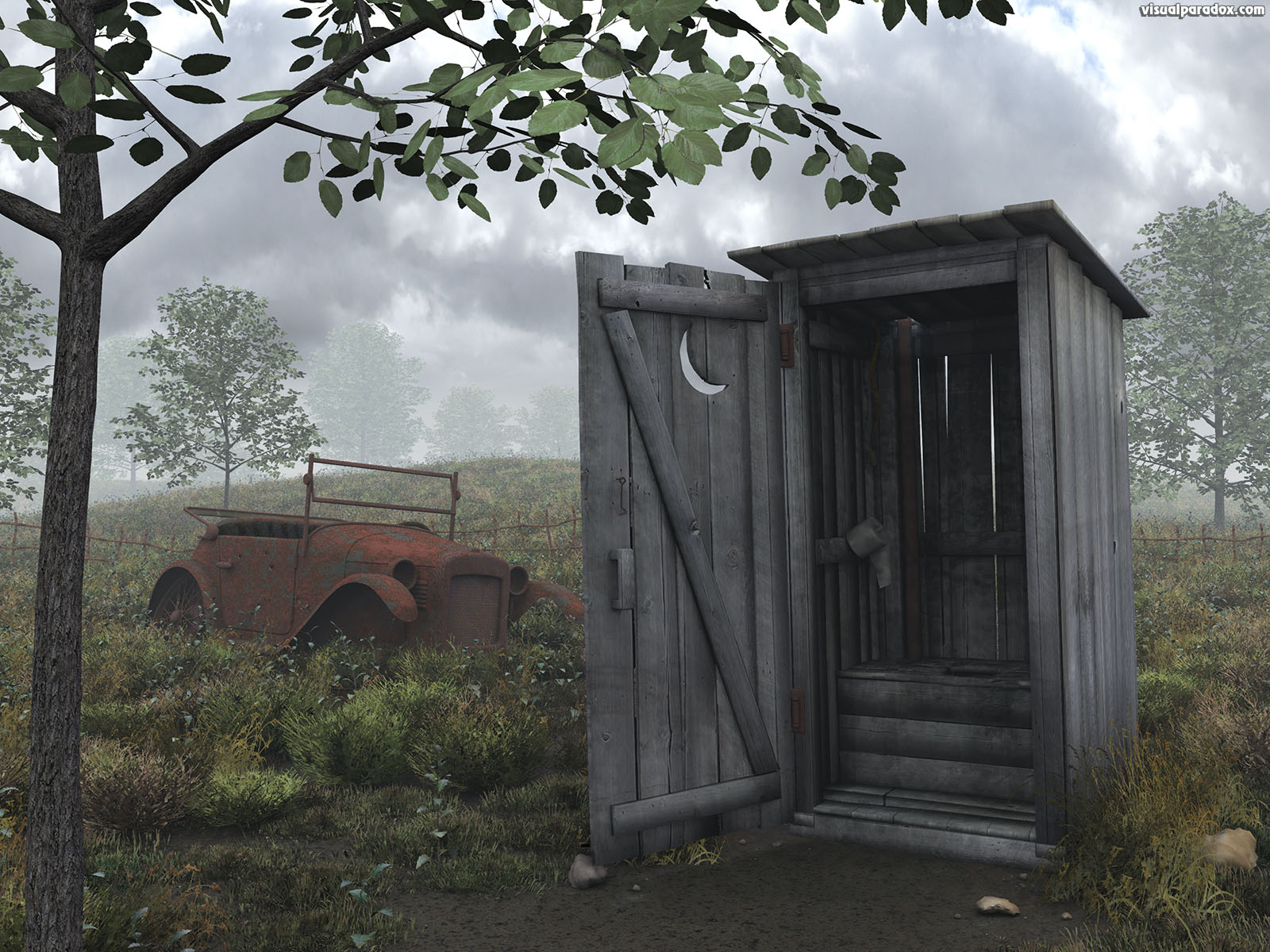 out house privy water closet crapper building john holer toilet can dunny biffy kybo thunderbox old car rust storm cloud, 3d, wallpaper