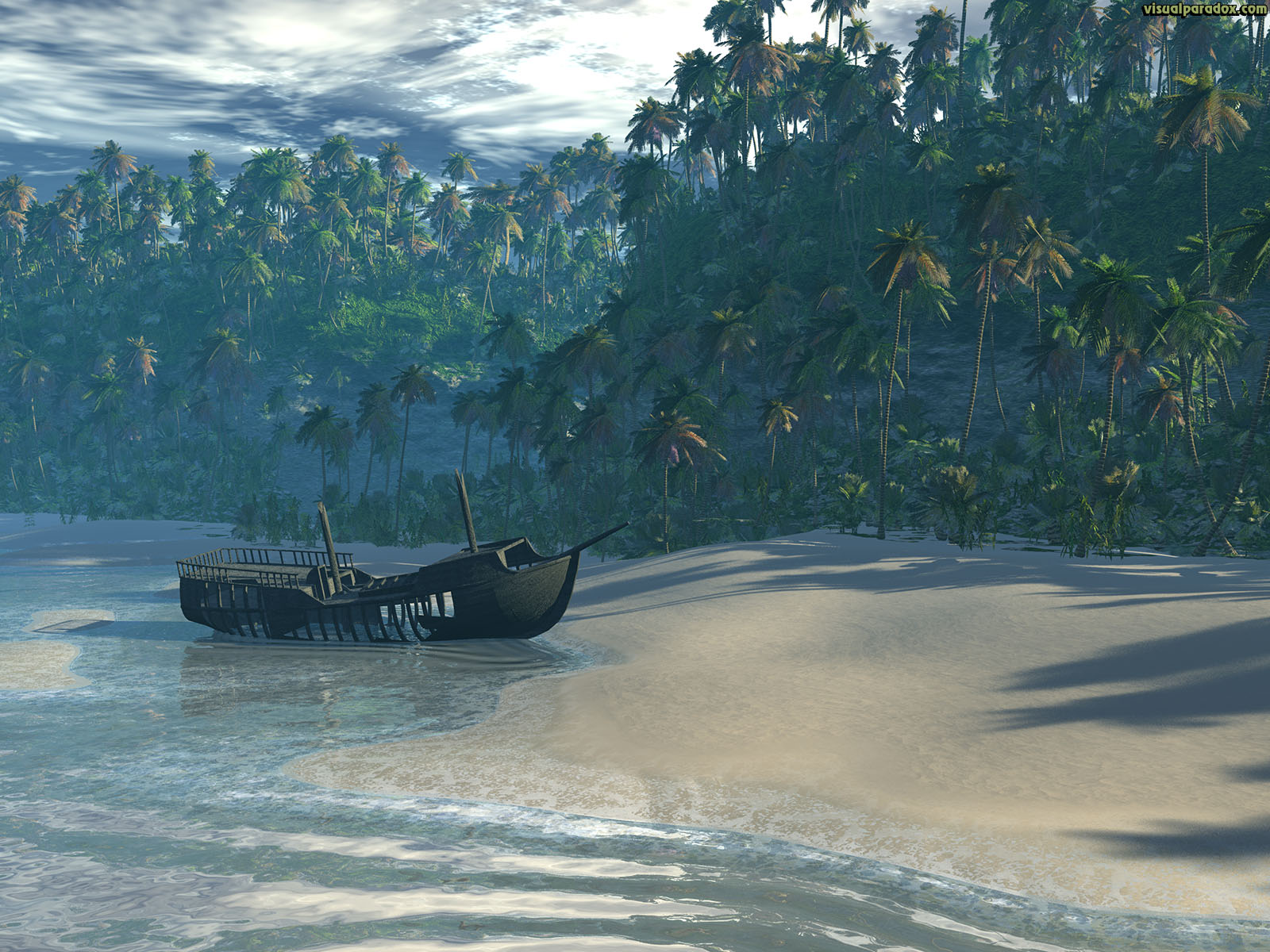 beach, boat, ocean, front, palm, trees, sea, waves, break, sand, ship, lost, marooned, castaway, cliff, tropical, 3d, wallpaper