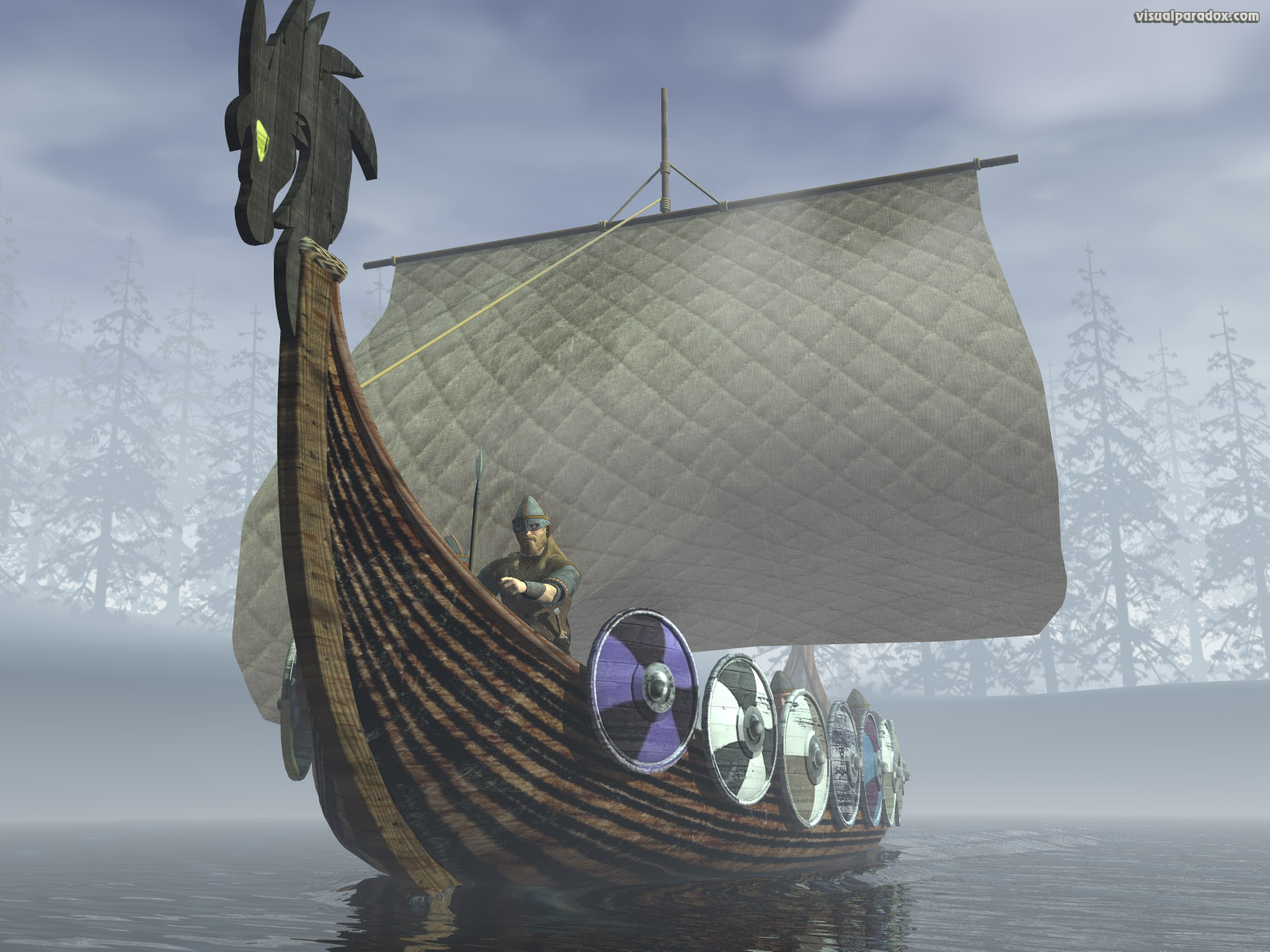 sail, boat, raiding, horde, attack, dragon, water, fog, drakkar, 3d, wallpaper
