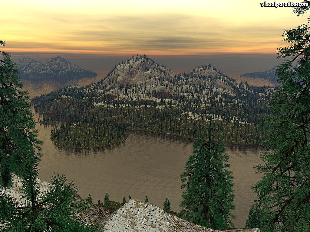 islands, ocean, sea, water, trees, isle, evening, view, 3d, wallpaper