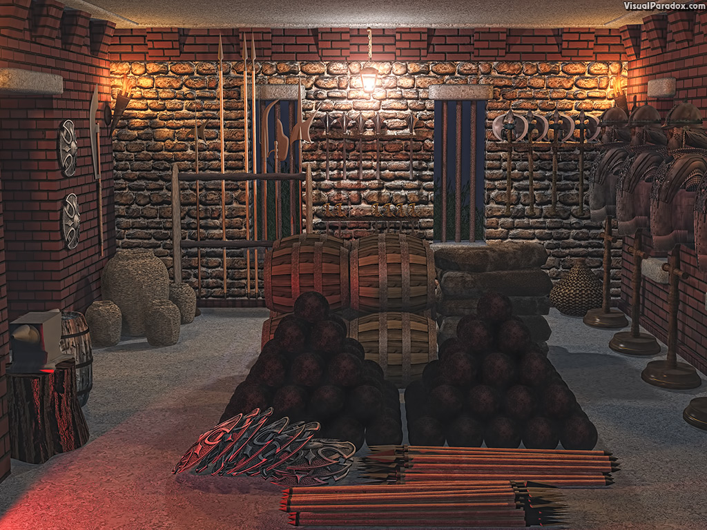 armoury, armory, weapons, ammo, artillery, powder, tower, keep, fort, medieval, armor, stone, room, cannon, balls, arrow, spear, axe, sword, mace, pole-arm, buckler, shield, equipment, kegs, anvil, forge, , 3d, wallpaper