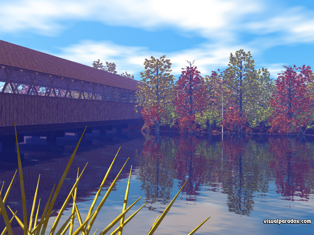 fall, colors, leaves, yellow, red, orange, season, change, covered bridge, forest, trees, arbor, tree, 3d, wallpaper