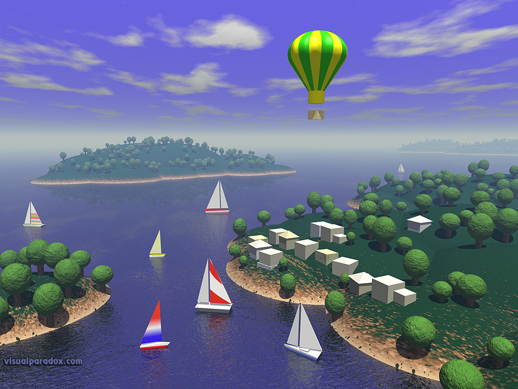 sailboats, hot, air, balloon, ocean, water, islands, trees, village, fly, sail, 3d, wallpaper