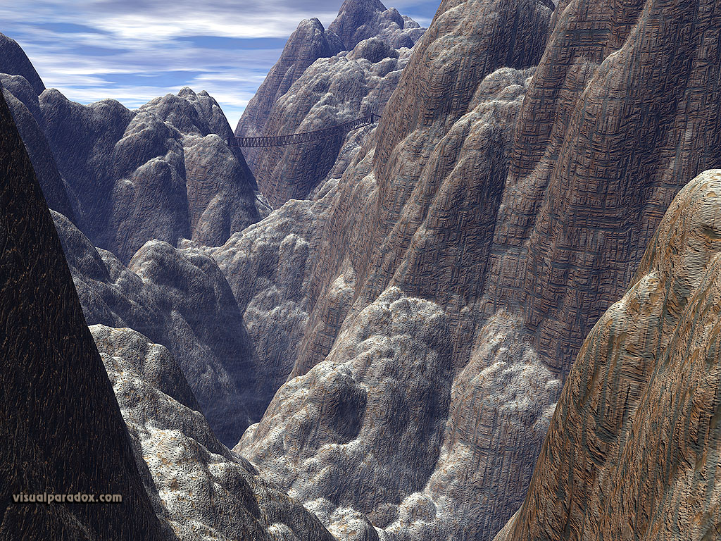 cliff, mountain, hike, granite, walk, trek, rope, bridge, cliffs, mountains, 3d, wallpaper