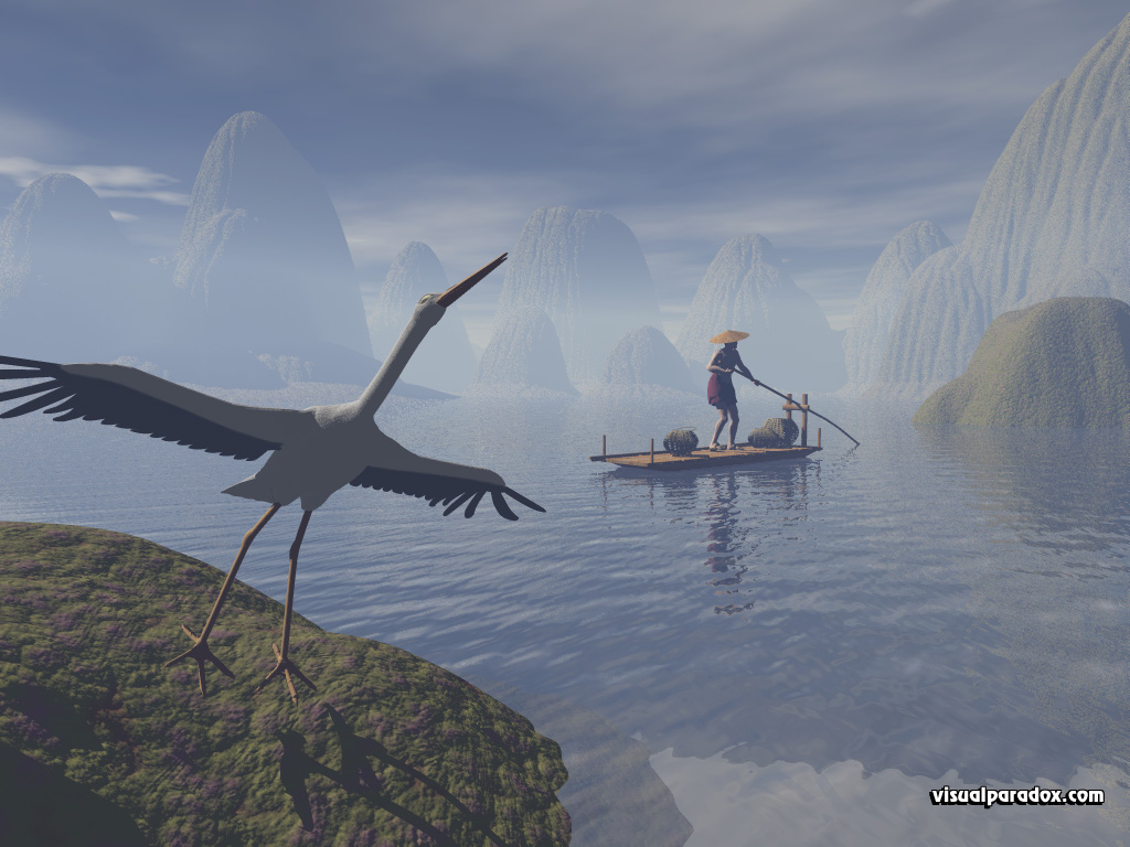 china, mountains, karst, li, bird, boat, river, stork, flying, animal, animals, 3d, wallpaper
