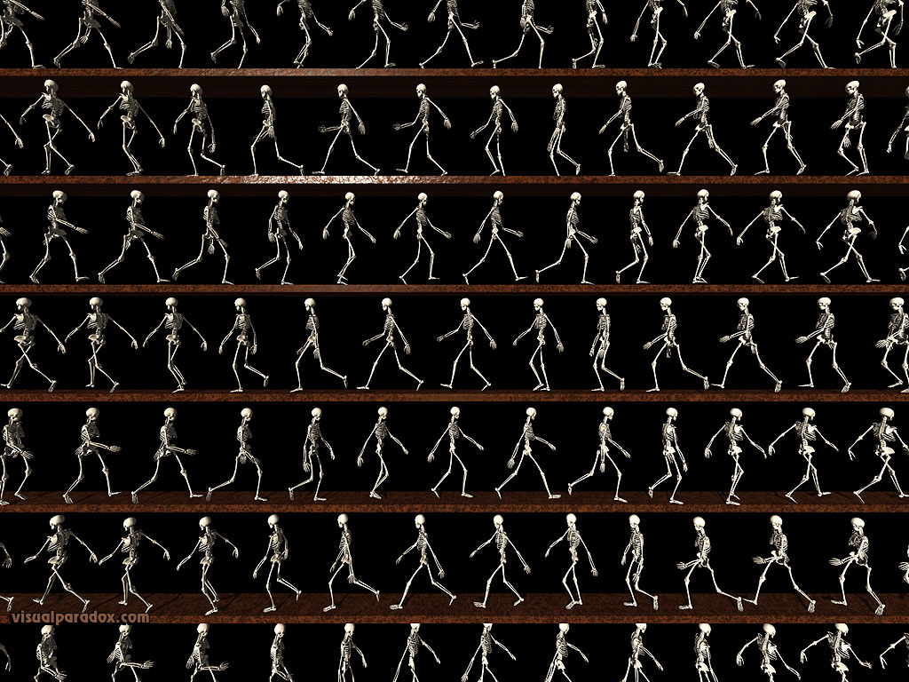 skeletons, animation, line, bones, death, follow, stroll, lines, walking, 3d, wallpaper