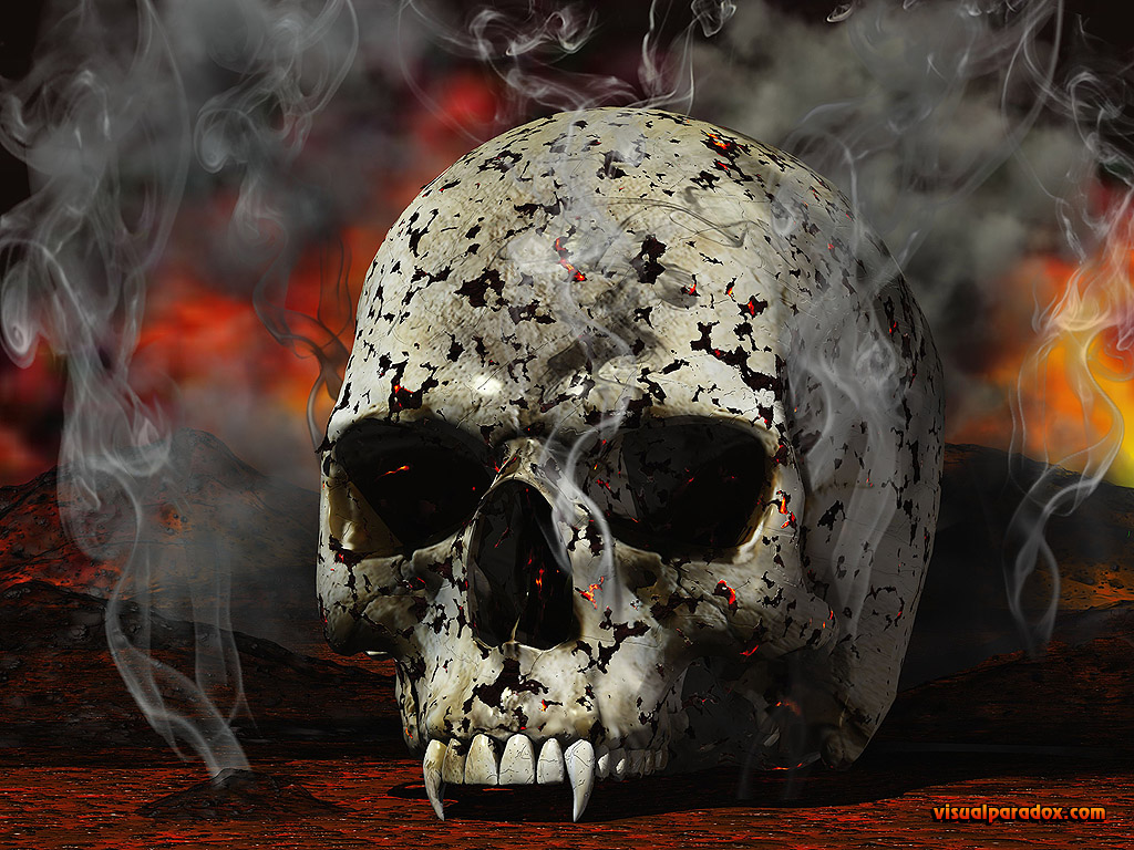 vampire, skull, burn, burnt, smoke, smoked, fire, demon, horror, scary, undead, Nosferatu, vampyre, 3d, wallpaper