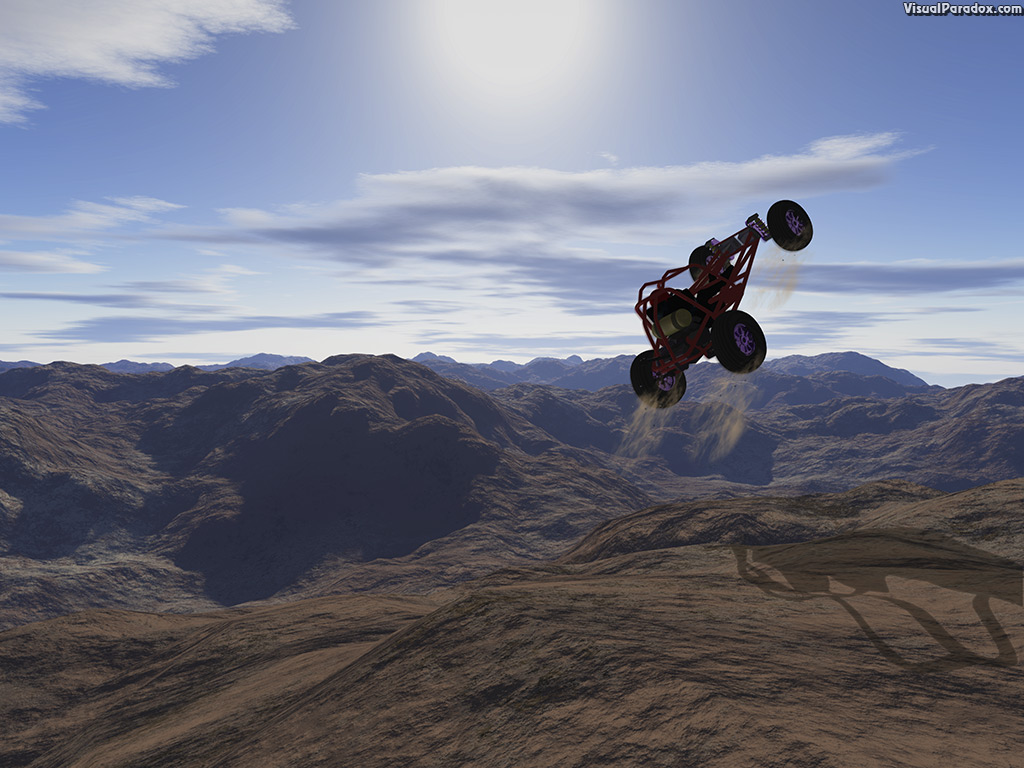 dirt, jump, track, desert, ramp, vehicle, atv, car, race, sport, recreation, 3d, wallpaper
