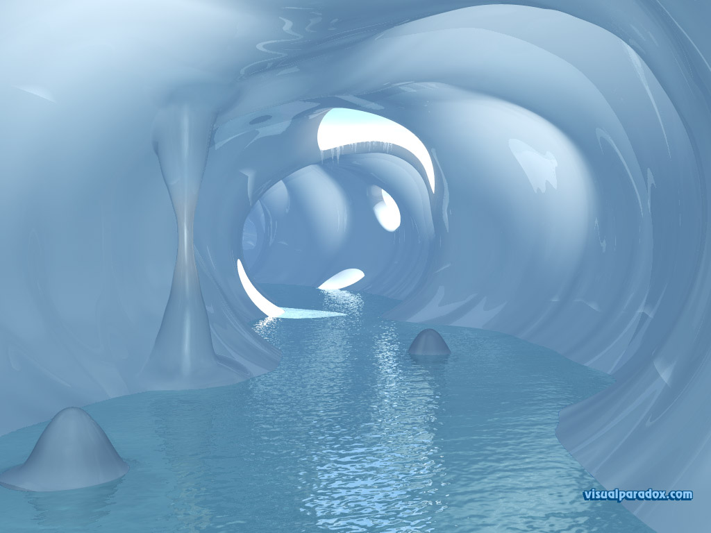 Snow, tunnel, frozen, cold, ice, melted, stalactites, stalagmites, underground, water , 3d, wallpaper