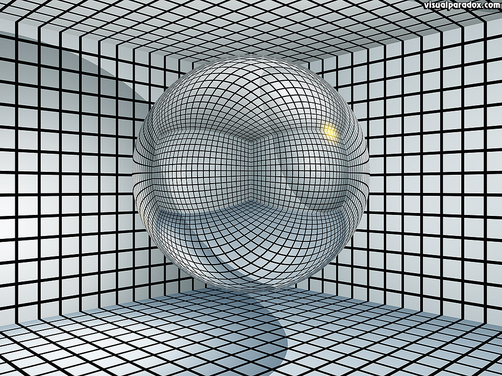 Sphere, ball, grid, black, white, contain, hold, inprison, cell, 3d, wallpaper