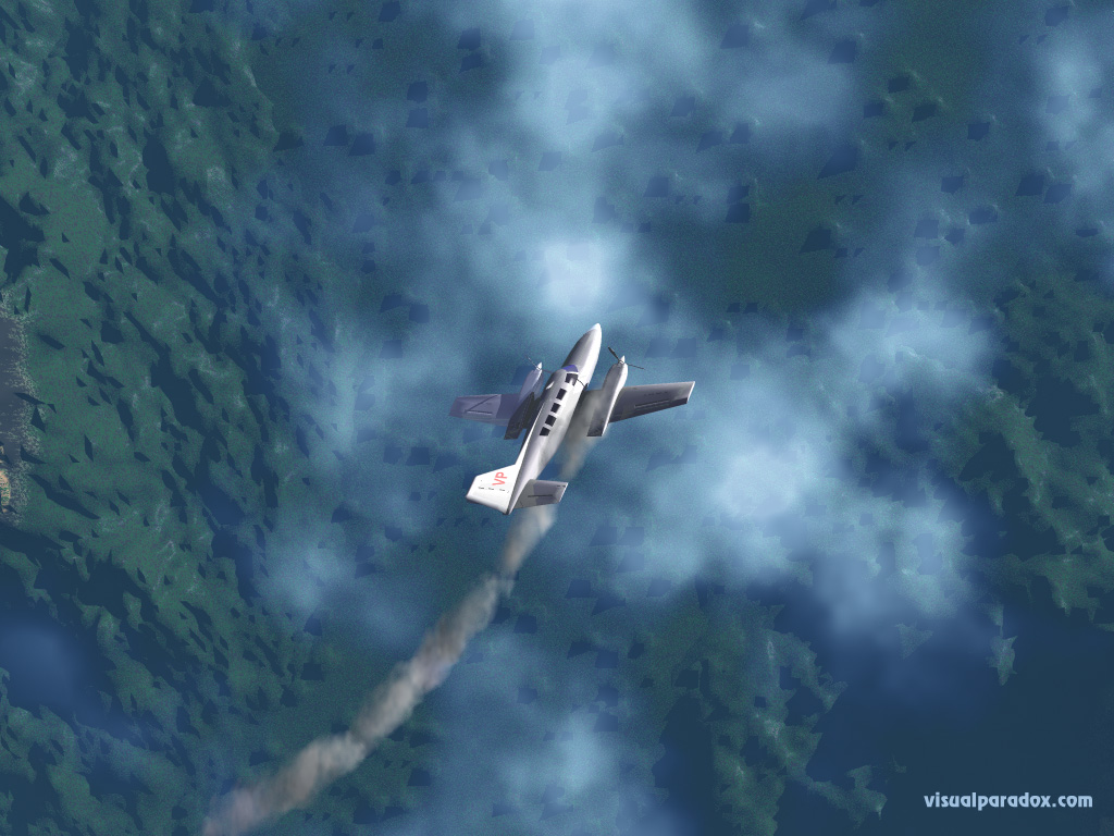 airplane, crash, down, smoke, clouds, altitude, airline, plane, 3d, wallpaper