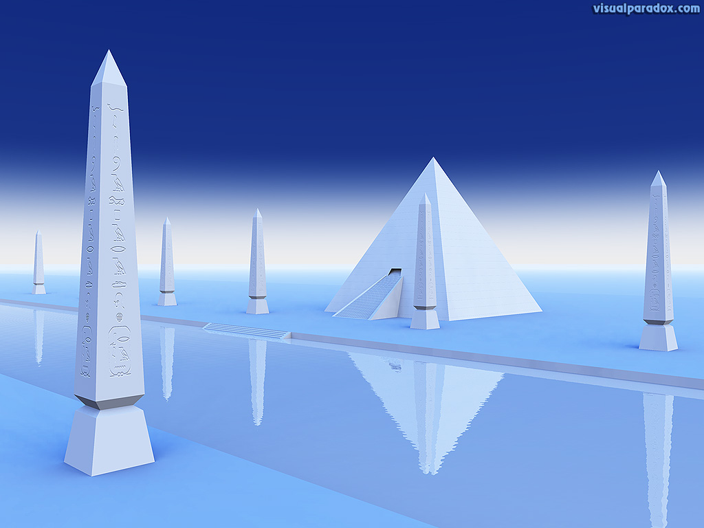 pyramid, river, Styx, Egyptian, hieroglyphics, white, blue, 3d, wallpaper