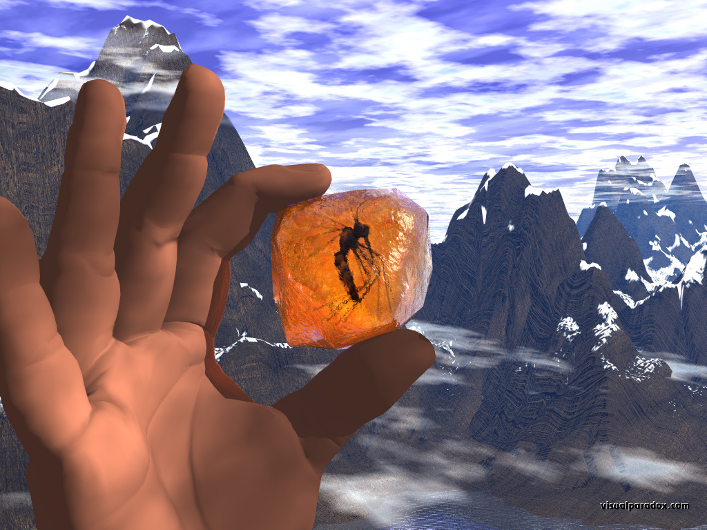 amber, mosquito, trapped, hand, rock, mountains, found, precious, stone, bug, bugs, 3d, wallpaper