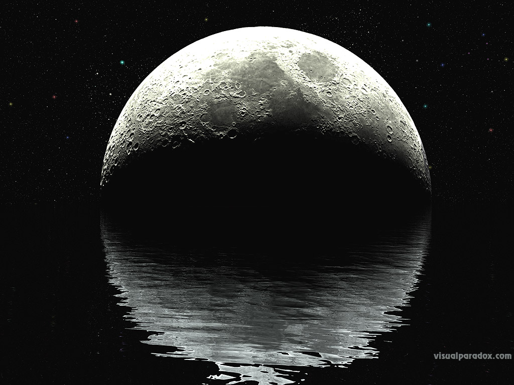 moon, lunar, ocean, water, waves, ripples, night, stars, planet, reflection, planets, black, white, sea, craters, 3d, wallpaper