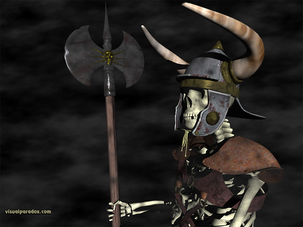 skeleton, soldier, fighter, attention, battle, axe, helmet, armor, army, arms, armed, horned, halberd, polearm, 3d, wallpaper