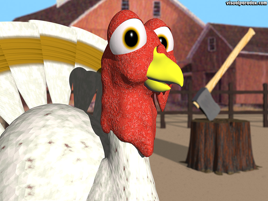 bird, axe, farm, thanksgiving, slaughter, doomed, cartoon, holiday, 3d, wallpaper