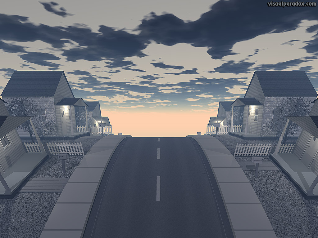 house, home, road, hill, neighborhood, dawn, dusk, morning, evening, city, clouds, houses, homes, 3d, wallpaper